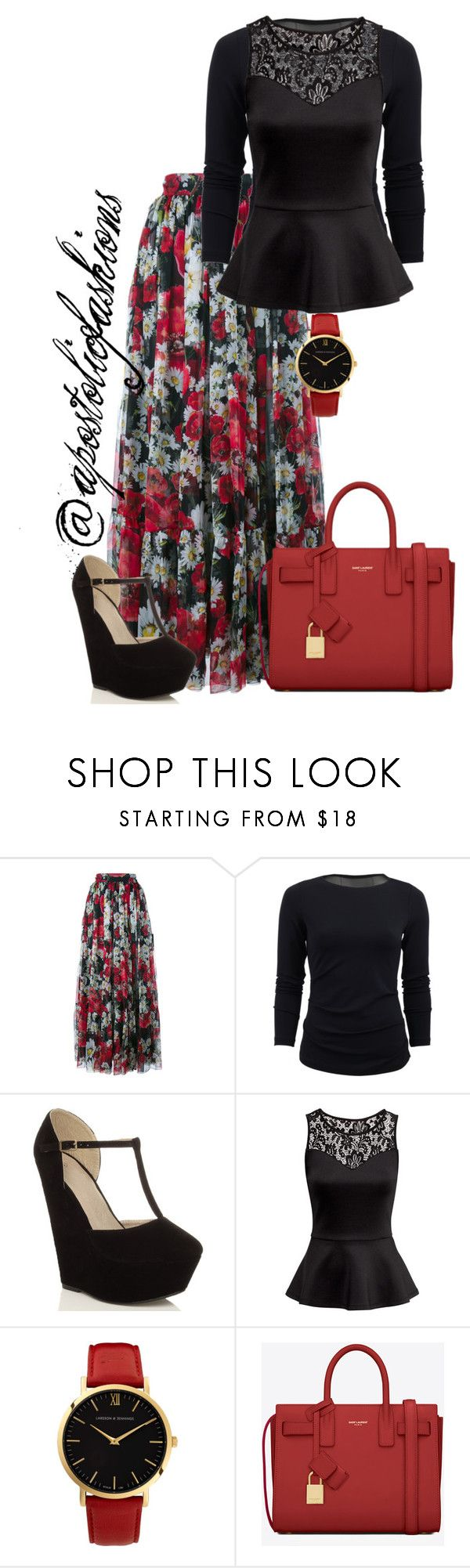 """""""Apostolic Fashions #1117"""" by apostolicfashions on Polyvore featuring Dolce&Gabbana, Nicole Miller, H&M, Larsson & Jennings and Yves Saint Laurent"""