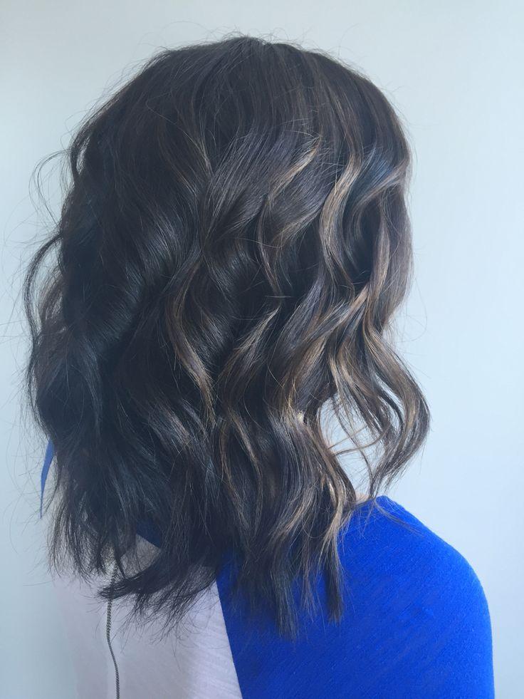 Brunette hair with balayage. Balayage on dark hair. Medium ...