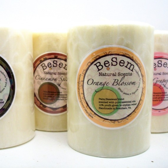 3 Pack Pillar Combo natural palm/beeswax candles, essential oil blends. $45.00, via Etsy.