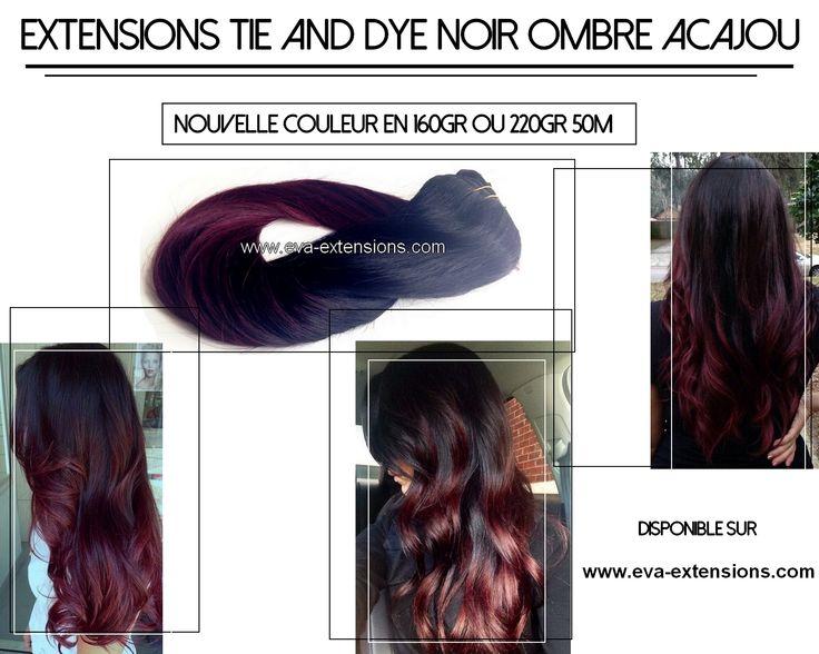 Extensions cheveux noir et prune tie and dye