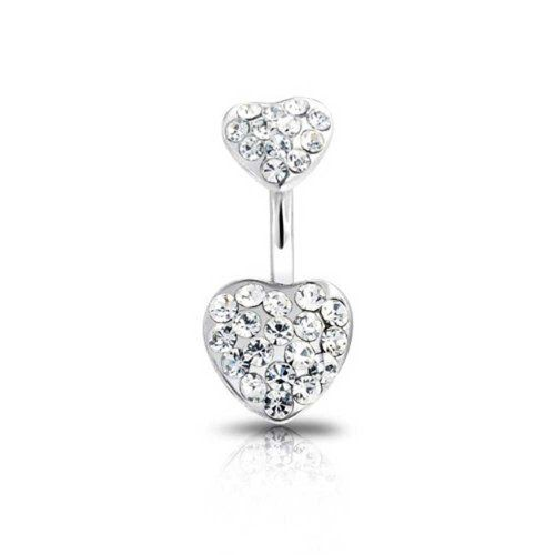 Bling Jewelry Kristall Double Edelstein Herz aus Edelstahl Bauchpiercing s Body Jewelry - http://schmuckhaus.online/bling-jewelry/bling-jewelry-kristall-double-edelstein-herz-aus