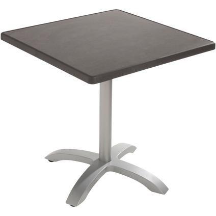 Table bistro Grosfillex 'Ecofix' résine / aluminium anthracite 70 x 70 cm
