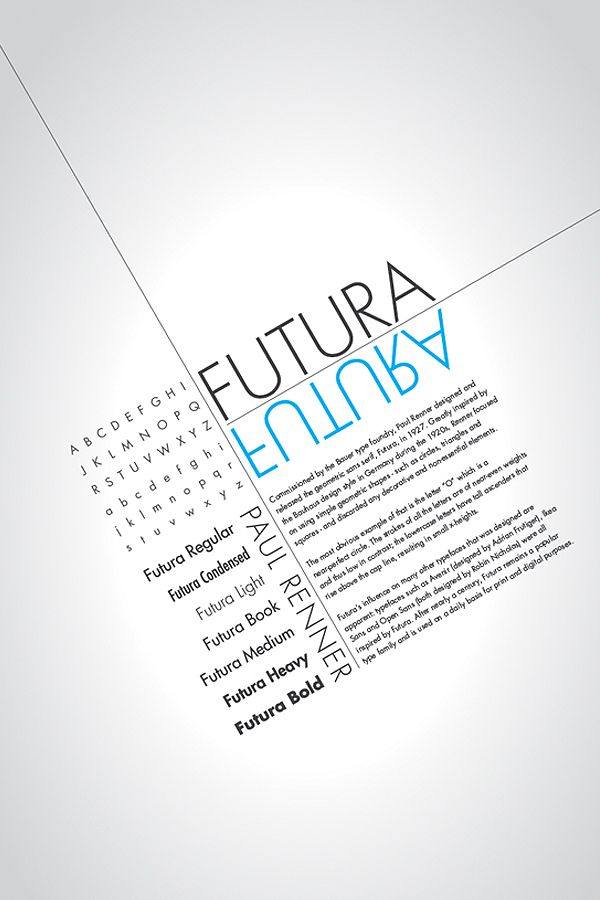 2nd favourite font, after Helvetica || Poster for Futura by Jenney Shi, via Behance