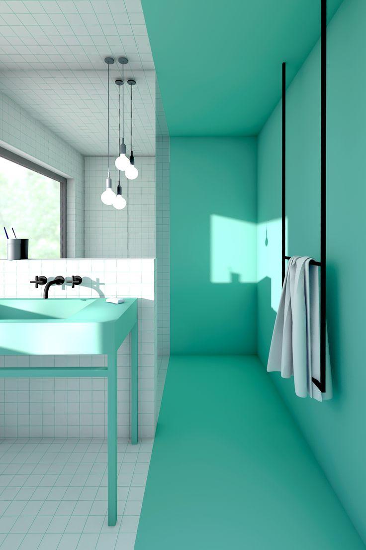 Groene badkamer met witte tegels, inloop douche en wastafelmeubel ...