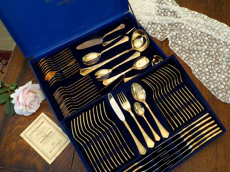 Bestecke Solingen 70pc 23/24K Gold Plate Flatware for 12 plus 10pc Hostess/Serving Set by MyFrenchTexas on Etsy