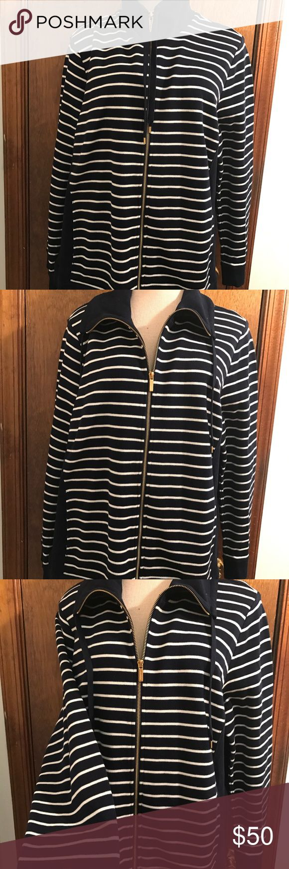 "Lauren Ralph Lauren Navy Blue White Stripe Sweater Lauren Ralph Lauren women's Nautical Navy Blue white stripe sweater zip up jacket size 2X 100% cotton  Gold zipper Chest 24.5"" across Waist 24"" across Sleeves 25.5"" Shoulders 18"" Length 27"" under collar to end of sleeve  Excellent Condition Lauren Ralph Lauren Jackets & Coats"