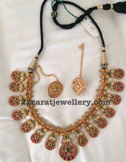 Temple Necklace with Flower Motifs - Jewellery Designs