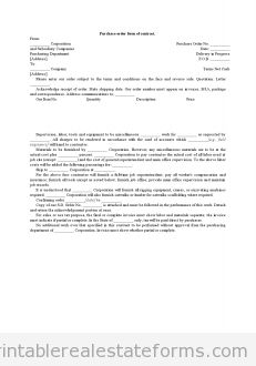Nice Printable Sample Purchase Order Form Of Contract Form