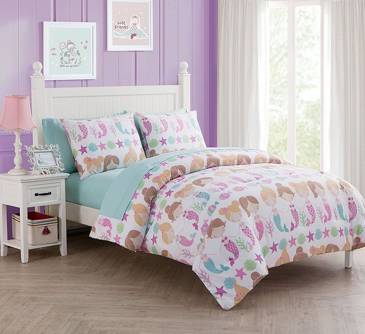 Best Amazon Com 7 Pc Girls Mermaid Bed In A Bag Full Size Bedding By Karalai Bedding Collection 400 x 300