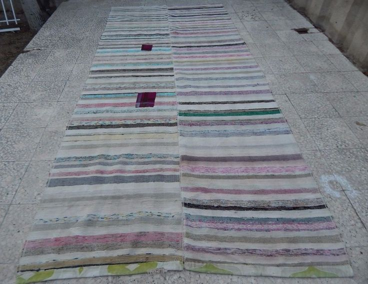 5.1x11.1 Ft Vintage Turkish Handwoven Large Hallway Chaput Kilim Rag Rug Runner #Turkish