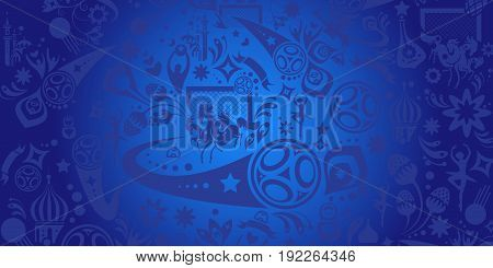 Abstract football background, blue dynamic texture. Russia 2018 football Vector world cup competition. Championship soccer. Russian folk decorative elements pattern. Soccer ball, award, goal icon