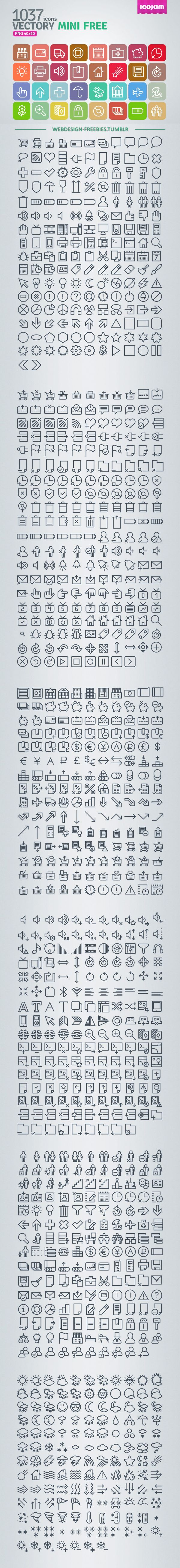 Vectory Mini - 1037 Free Icons