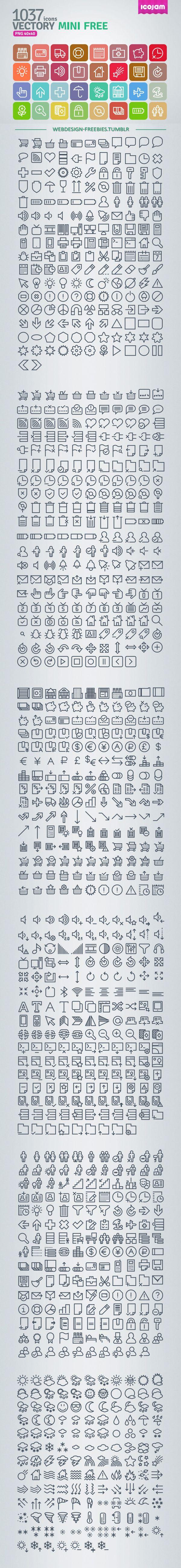 Vectory Mini - 1037 Free Icons