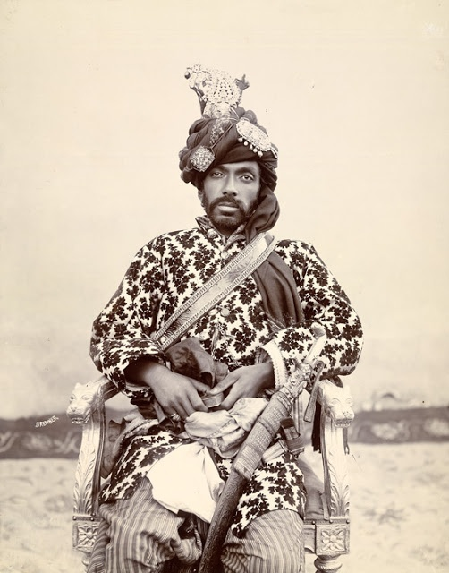 Photograph of Sir Mir Mohammad Khan, Khan of Kalat from the 'Wheeler Collection: Portraits of Indian Rulers,' was taken by Frederick Bremner c.1894. Kalat is located in Baluchistan and was established in the middle of the fifteenth century by the Mir Wari clan, an Arab family.