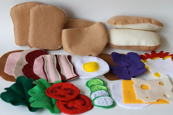 Felt Food Ultimate Sandwich Kit Play Bread, sub roll Pita Three for one 31 pieces. $32.00, via Etsy.
