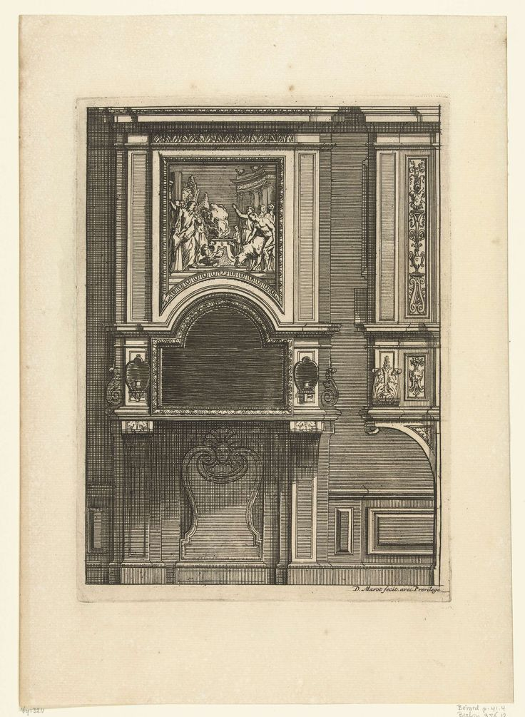 Daniël Marot (I) | Onderboezem, Daniël Marot (I), after 1703 - before 1800 | De schoorsteenboezem bestaat uit twee lange consoles; boven het tablet hangt een spiegel met kaarsenhouders ernaast; hierboven hangt een schilderij met een offerscène. Uit serie van 6 bladen.
