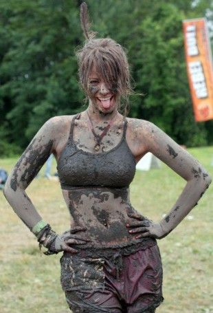 I see your very pretty and voluptuous woman covered in mud I