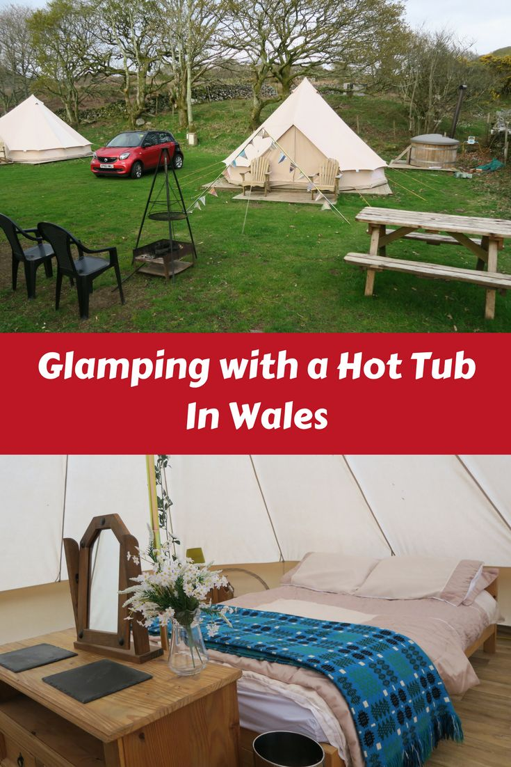 Glamping with a hot tub in Snowdonia National Park, UK for a long weekend during Easter. Double bed in our bell tent. Hiking Snowdon, Jumping in an underground cave Bounce Below on trampolines and slides. Exploring Cadair Idris, Lake Trawsfynydd, Barmouth Beach and more.