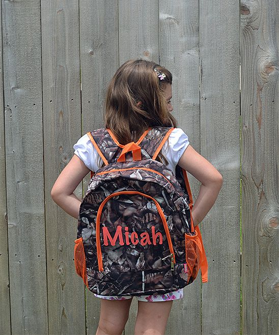 Orange Camo Personalized Backpack