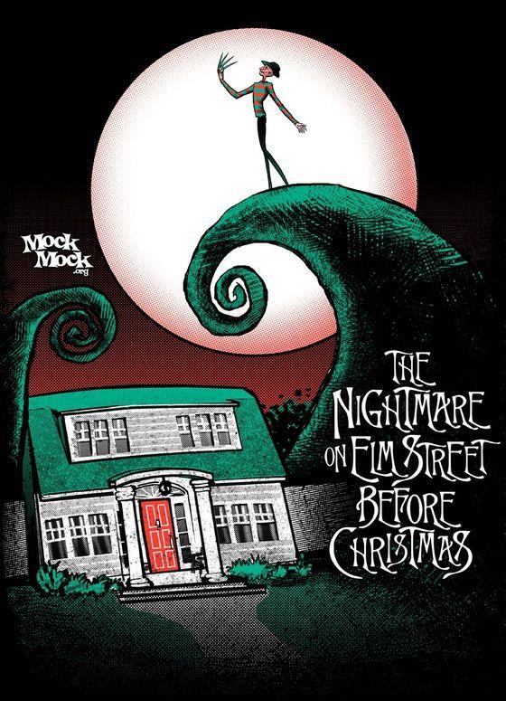 Image of A NIGHTMARE ON ELM STREET BEFORE CHRISTMAS - Freddy Kruger/Jack Skellington parody mashup t-shirt