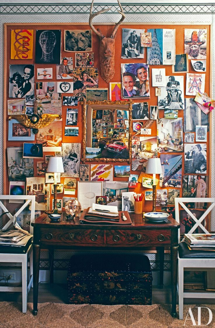 """When interviewed for the July/August 1976 story on his Manhattan home, Albert Hadley said, """"I can tell you that this apartment represents many years of accumulation."""" This mind-set is reflected in his study, where a bulletin board he covered in treasured photos and mementos serves as a """"changeable tapestry."""""""