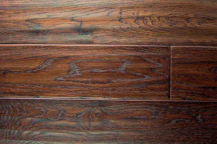 White Oak Prefinished Hand Scraped Hardwood Flooring in Burnt Umber Color
