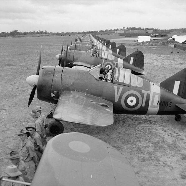 Buffalos of No. 453 Squadron RAAF lined up at RAF Sembawang, circa November 1941