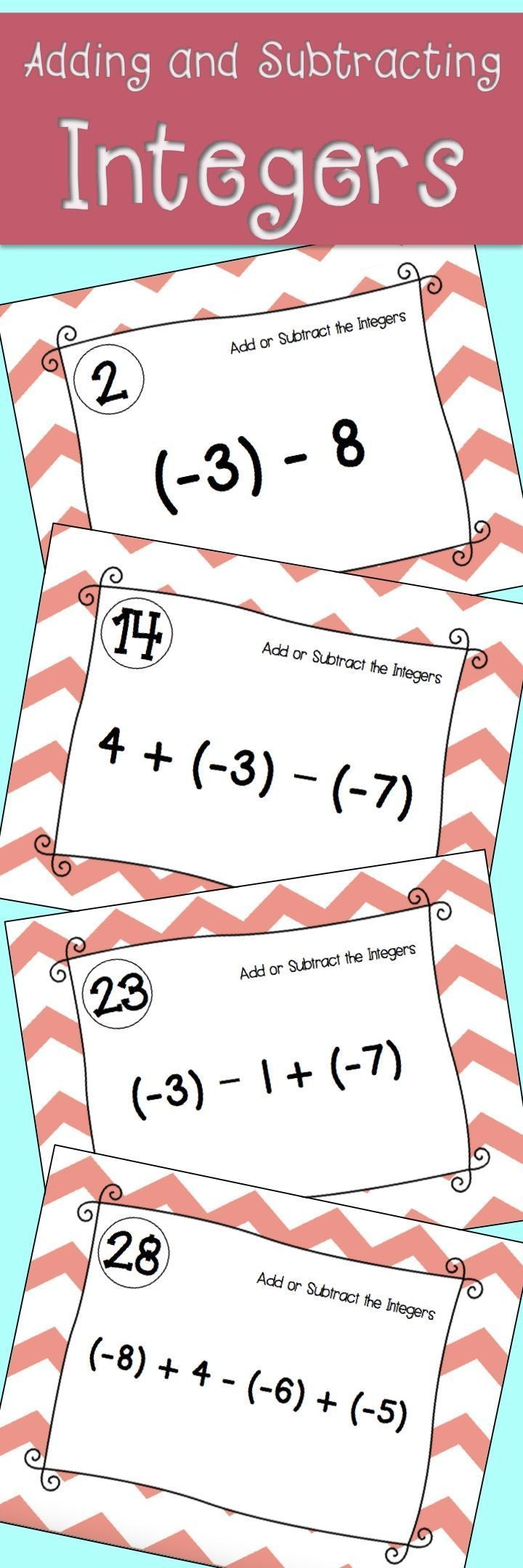 Adding and Subtracting Integers Task Cards. Algebra or Pre-Algebra activity.