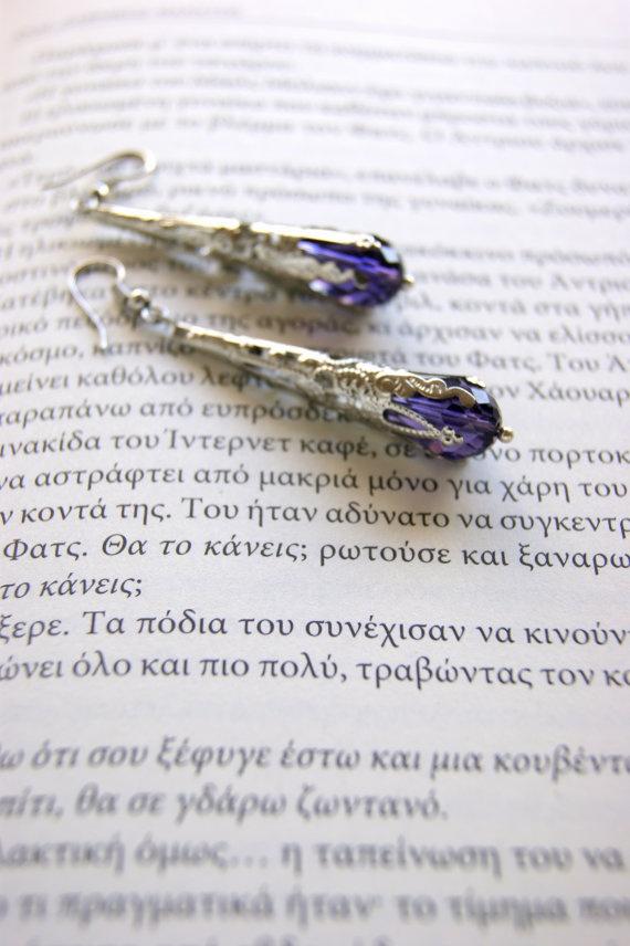 Antique earrings   purple   gemstone by RenatasArt on Etsy, €12.00