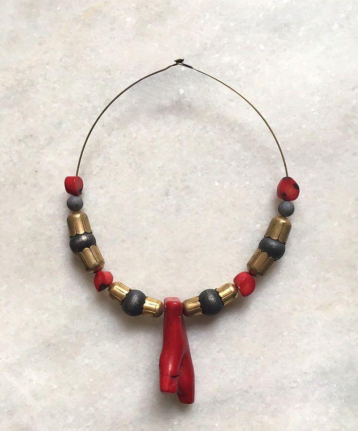 Etno necklace, Coral
