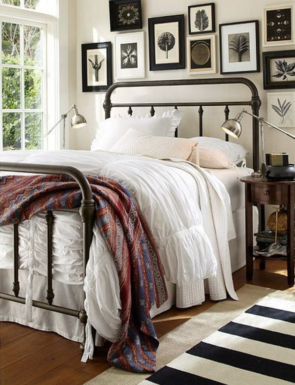 Black and white art above bed