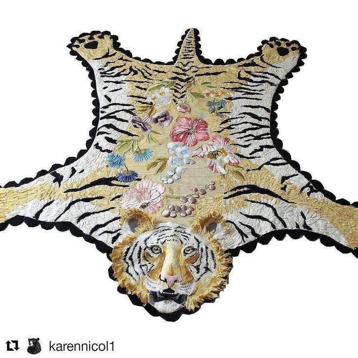 Hello tiger! #regram @karennicol1 Tiger lily embroidered piece for show in Chelsea #embroidery #textiles #interiors #art #fashion #london #gallery #yellow #flowers #fabric #tiger #catsofinstagram #rug #mrxstitch #creativityfound #handembroidery via The Mr X Stitch official Instagram Share your stitchy 'grams with us - @mrxstitch #xstitchersofinstagram #mrxstitch