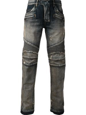 BALMAIN ribbed motorcycle jeans £1,447 Balmain - Men's Designer Clothing - Farfetch