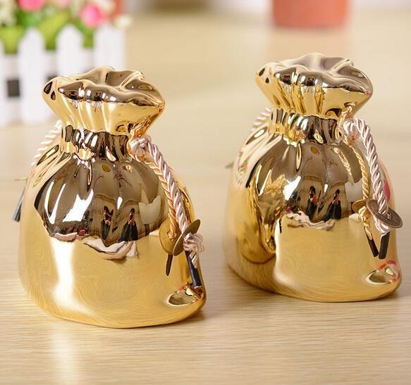 Благородные Золотой Кошелек Копилка Дома Стол Украшения Керамических Промыслов Украшения