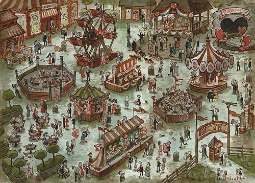 """amusement park watercolor   ... amusement park for the upcoming """" Zombies In Love """" art show at"""
