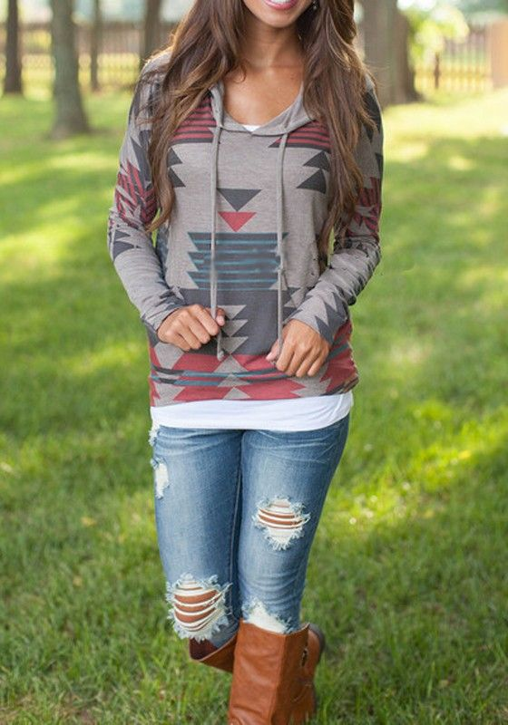 Grey Geometric Color Block Print Pockets Hooded Drawstring Long Sleeve Casual Sweatshirt
