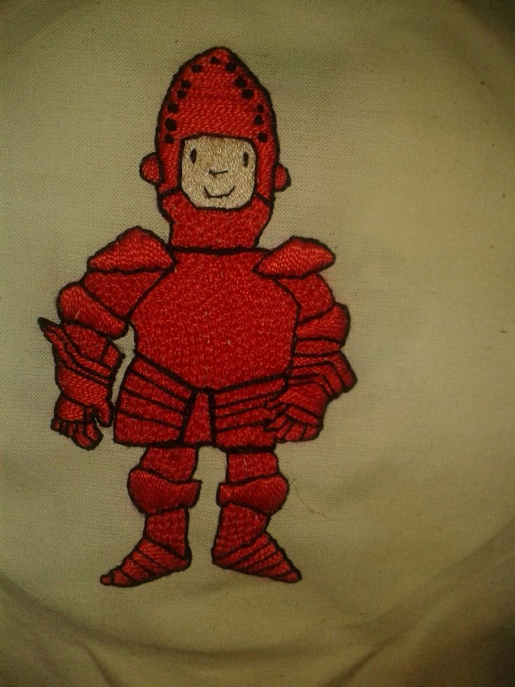 Red Knight hand embroidered