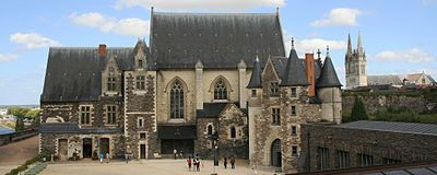 The Château d'Angers is a castle in the city of Angers in the Loire Valley, in the département of Maine-et-Loire, in France. Founded in the 9th century by the Counts of Anjou, was expanded to its current size in the 13th century. It is located on a rocky ridge overhanging the river Maine