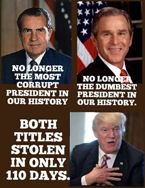 Nixon: no longer the most corrup president in our history. Bush Jr: no longer the dumbest president in our history. Trump: both titles stolen in only 110 days.