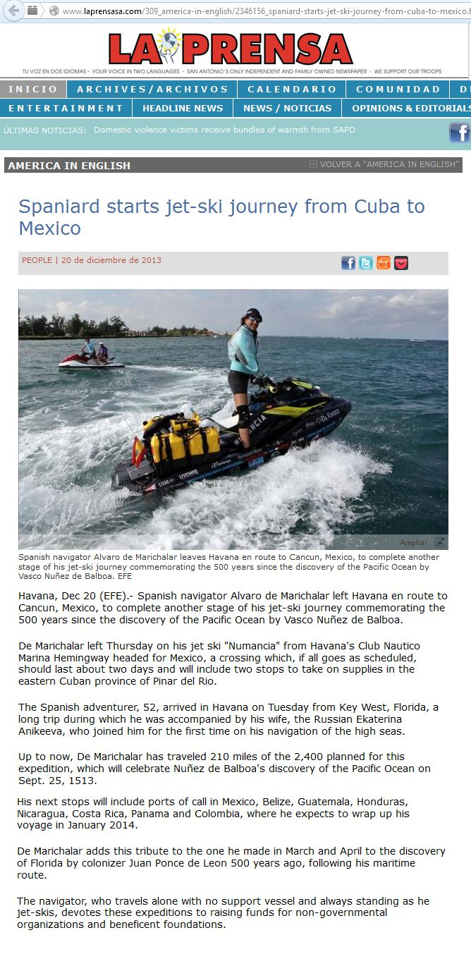 131220 - http://www.laprensasa.com/309_america-in-english/2346156_spaniard-starts-jet-ski-journey-from-cuba-to-mexico.html