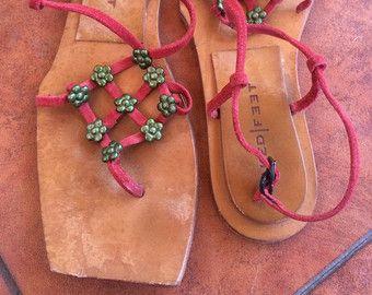 Vintage hecho a mano tiras de sandalias de cuero marrón wom 6