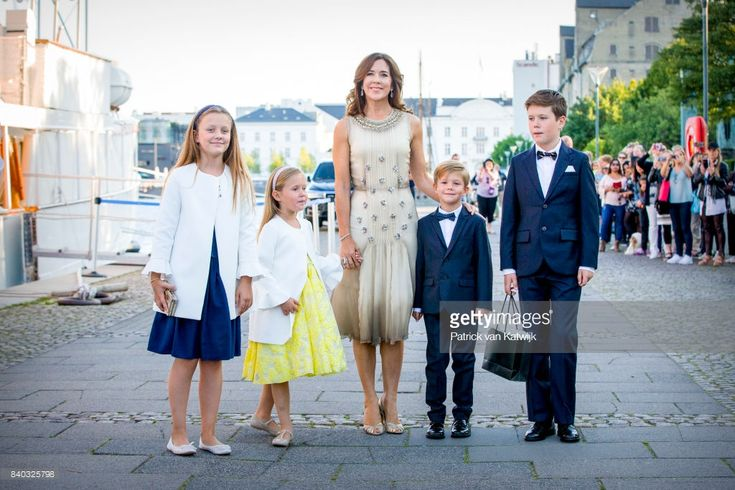 Princess Isabella of Denmark, Princess Josephine of Denmark, Crown princess Mary of Denmark, Prince Vincent of Denmark and Prince Christian of Denmark attend the 18th birthday celebration of Prince Nikolai at royal ship Dannebrog on August 28, 2017 in Copenhagen, Denmark.