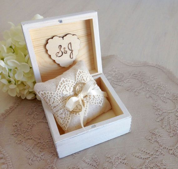 Ivory white ring bearer box with ivory lace and flower