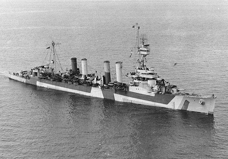 A camouflaged U.S. Navy Omaha-class light cruiser USS Detroit (CL-8) off Port Angeles, Washington in April 1944.  (U.S. Navy Photograph.)