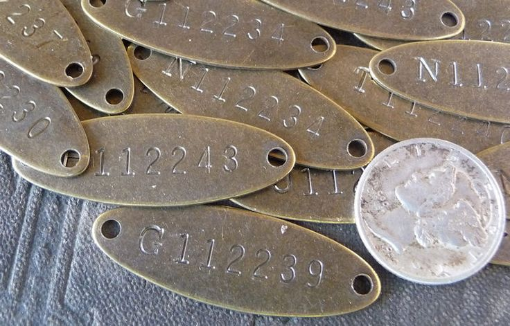 TWO (2)  Brass Tags Vintage Numbered Tiny Oval 2-Hole Metal Rectangle Small even TiNy Tags Marker ID tags by CreativeARTifacts on Etsy https://www.etsy.com/listing/99998342/two-2-brass-tags-vintage-numbered-tiny