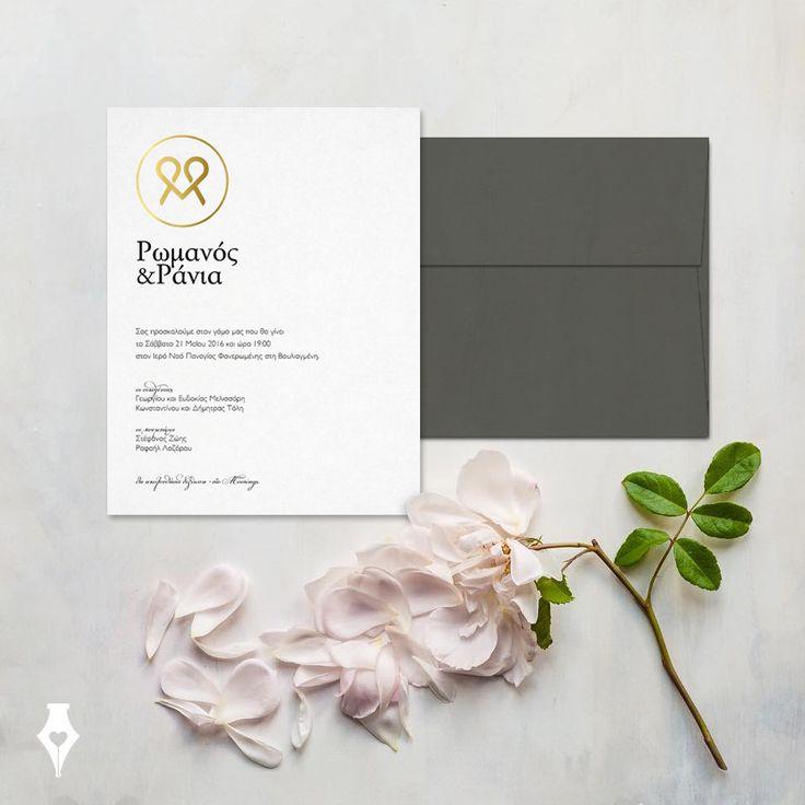 Προσκλητήριο γάμου με μοντέρνο μονόγραμμα σε χρυσοτυπία. #προσκλητήριο #γάμου #μοντέρνο #μονόγραμμα #αρχίγραμμα #χρυσό #λευκό #wedding #invitation #modern #monogram #elegant #minimal #gold #white