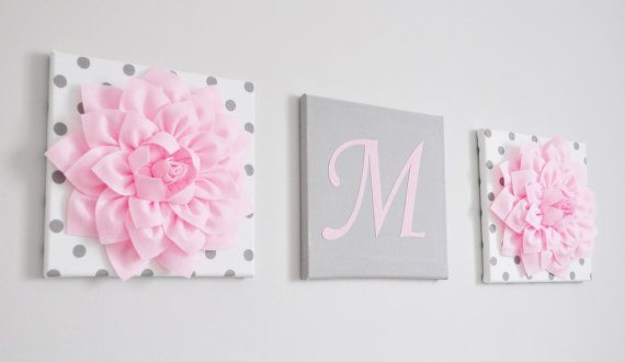This listing is for 3 Wall Canvases Hangings in Hot Pink or Gray. You can choose your letter, letter color, flower style, flower color and canvas prints