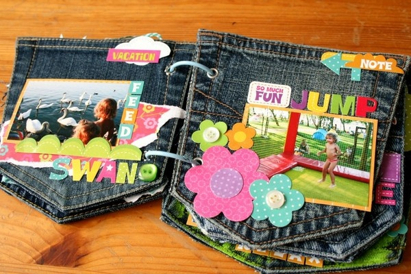 Jeans pocket mini album by Two Peas in a Bucket