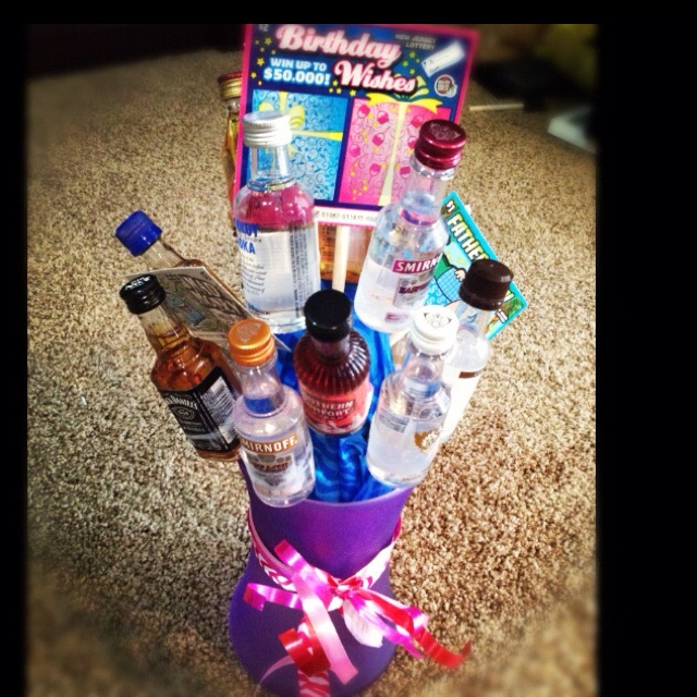 Lottery ticket& shots bouquet for a guys birthday! 21st birthday idea!