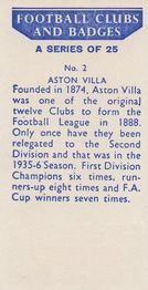1958 Football Clubs and Badges #2 Aston Villa Back